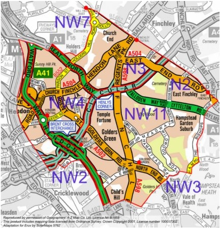 Map North West London.Where Is The Eruv